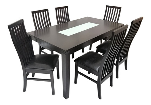 comedor de madera de 6 sillas café espresso mesa  150x90x75 nuevo