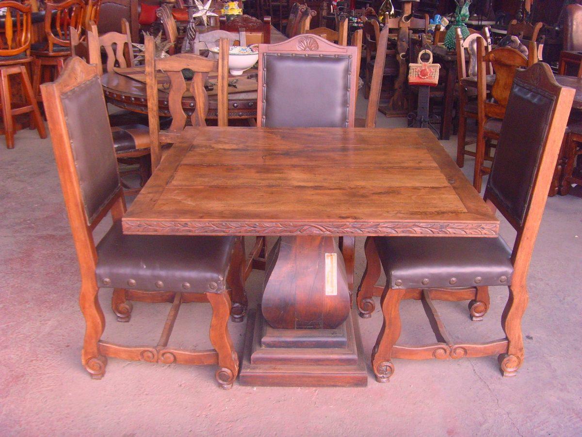Comedor de madera de mezquite estilo antiguo original for Muebles tallados en madera