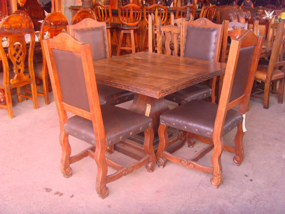 Comedor de madera de mezquite estilo antiguo original for Comedor de madera
