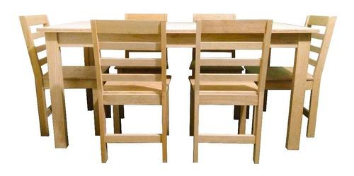 comedor de madera de pino rústico al natural mesa con 6 sillas.
