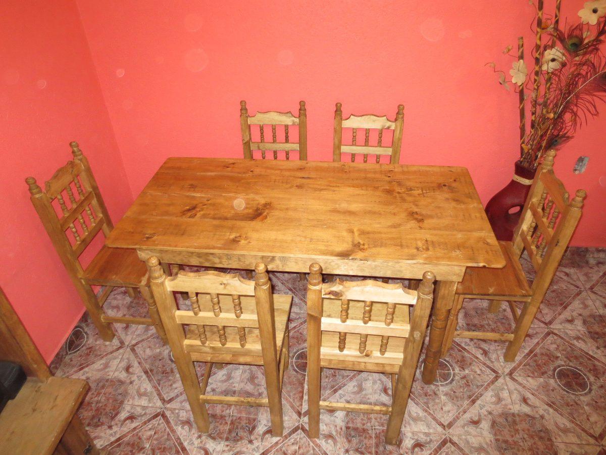 Comedor de madera nuevo rustico con 6 sillas envio gratis for Precio de comedor de madera 6 sillas