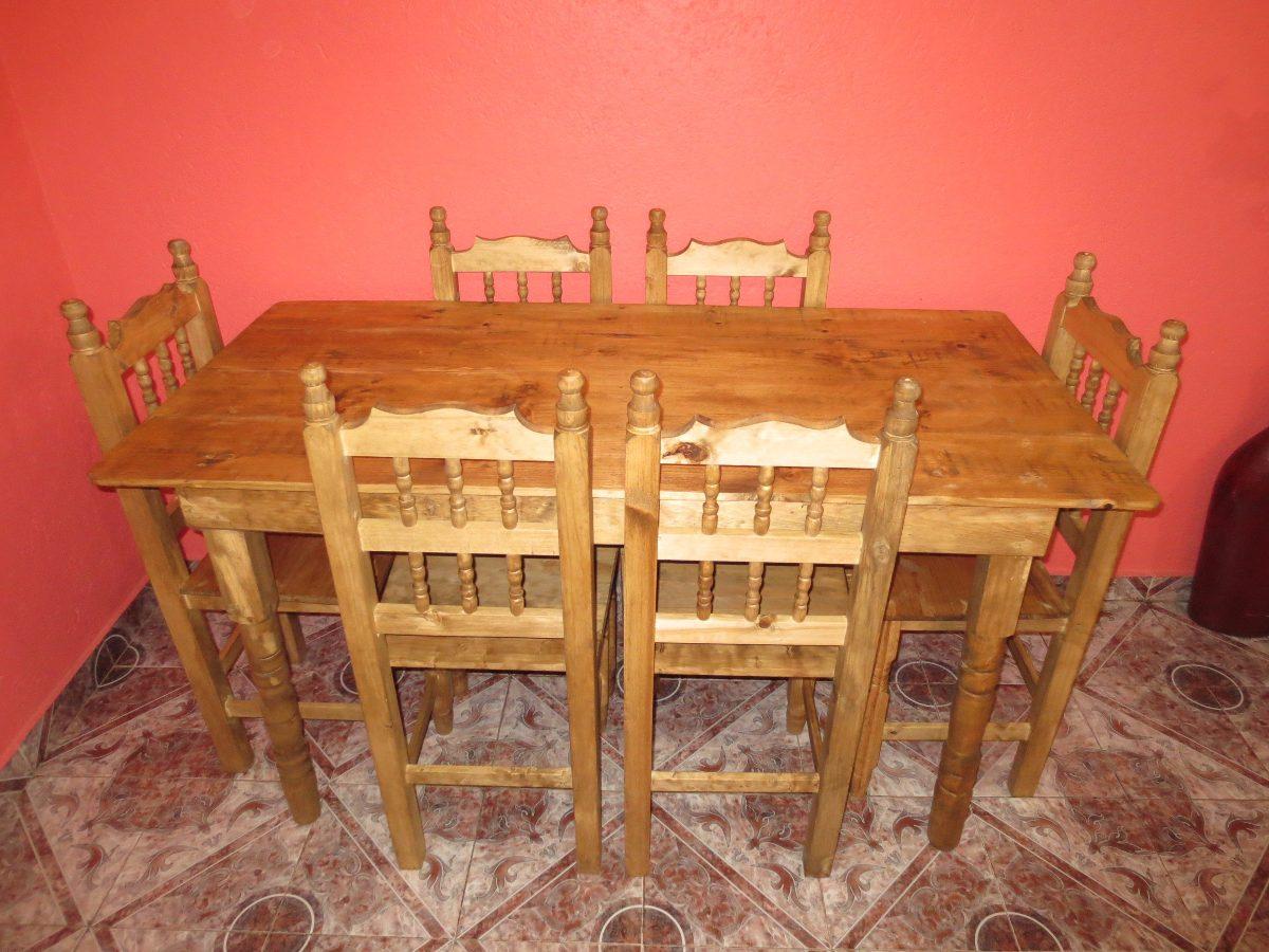 Comedor de madera nuevo rustico con 6 sillas envio gratis for Comedor de madera 6 sillas