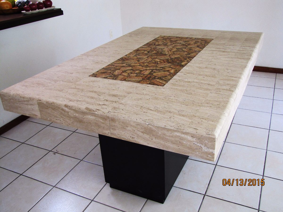 Comedor de m rmol travertino beige mt con for Precio de marmol travertino