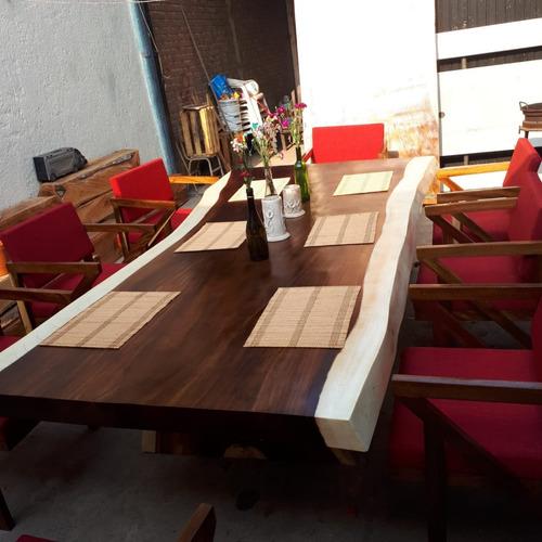 comedor de parota con sillas (8). maderas finas