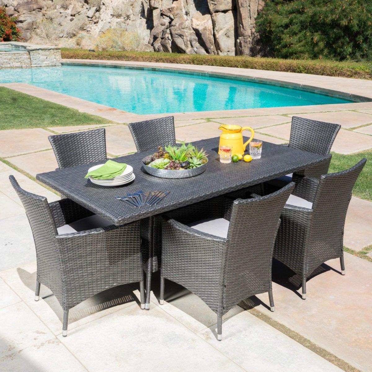 Comedor De Rattan Gris Mueble Para Jardin O Exterior - $ 28,999.00 ...
