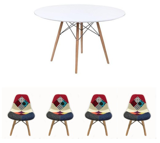 1204 Sillas Dsw Eames Comedor Patchwork Mesa mnvN0Ow8