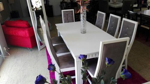 comedor en madera blanco de ocho sillas