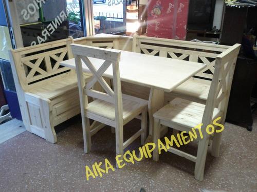 Comedor esquinero rinconero en madera maciza for Banco rinconera comedor