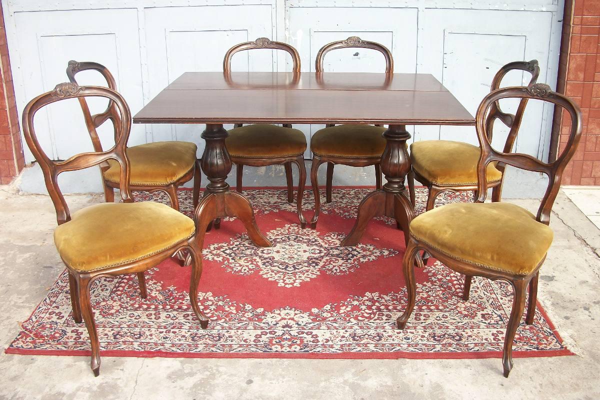 Comedor estilo ingles mesa libro y 6 sillas antiguo living - Mesa libro comedor ...
