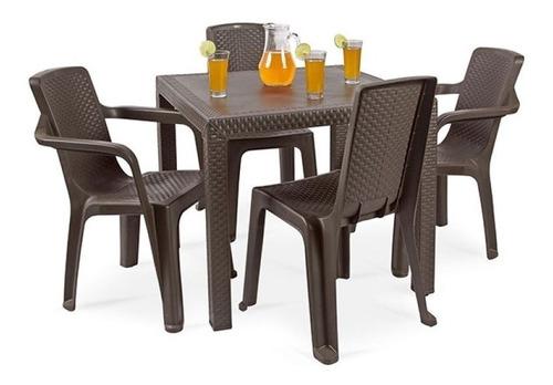 comedor exterior rimax + 4 sillas diseño elegante - hogar