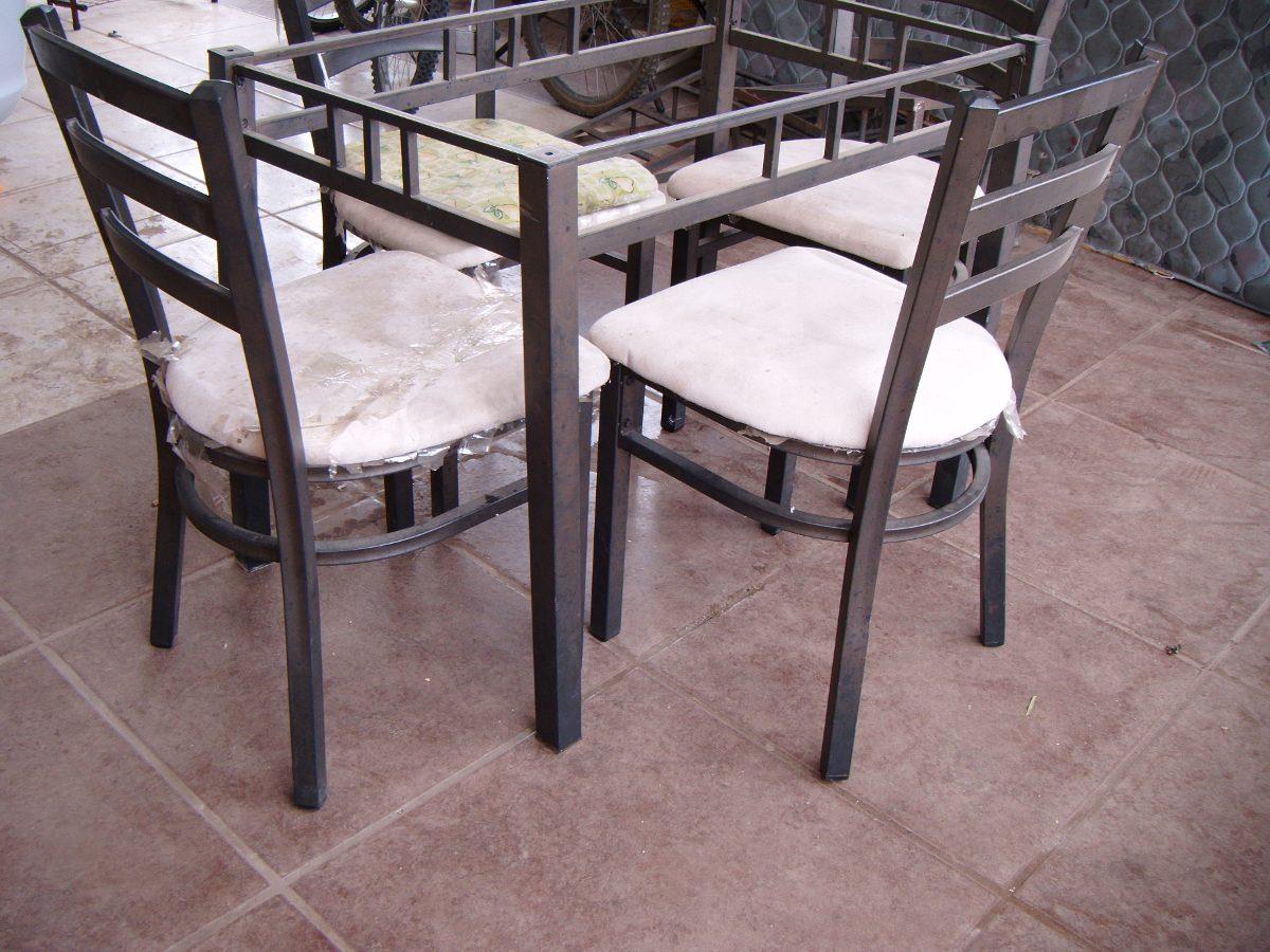 Comedor herraje cristal 4 sillas moderno 2 en Comedor 4 sillas moderno
