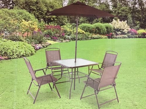 comedor jardin terraza patio mesa 4 sillas y sombrilla envio