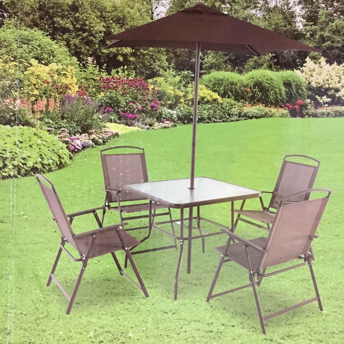Comedor jardin terraza patio mesa 4 sillas y sombrilla for Sillas de terraza y jardin