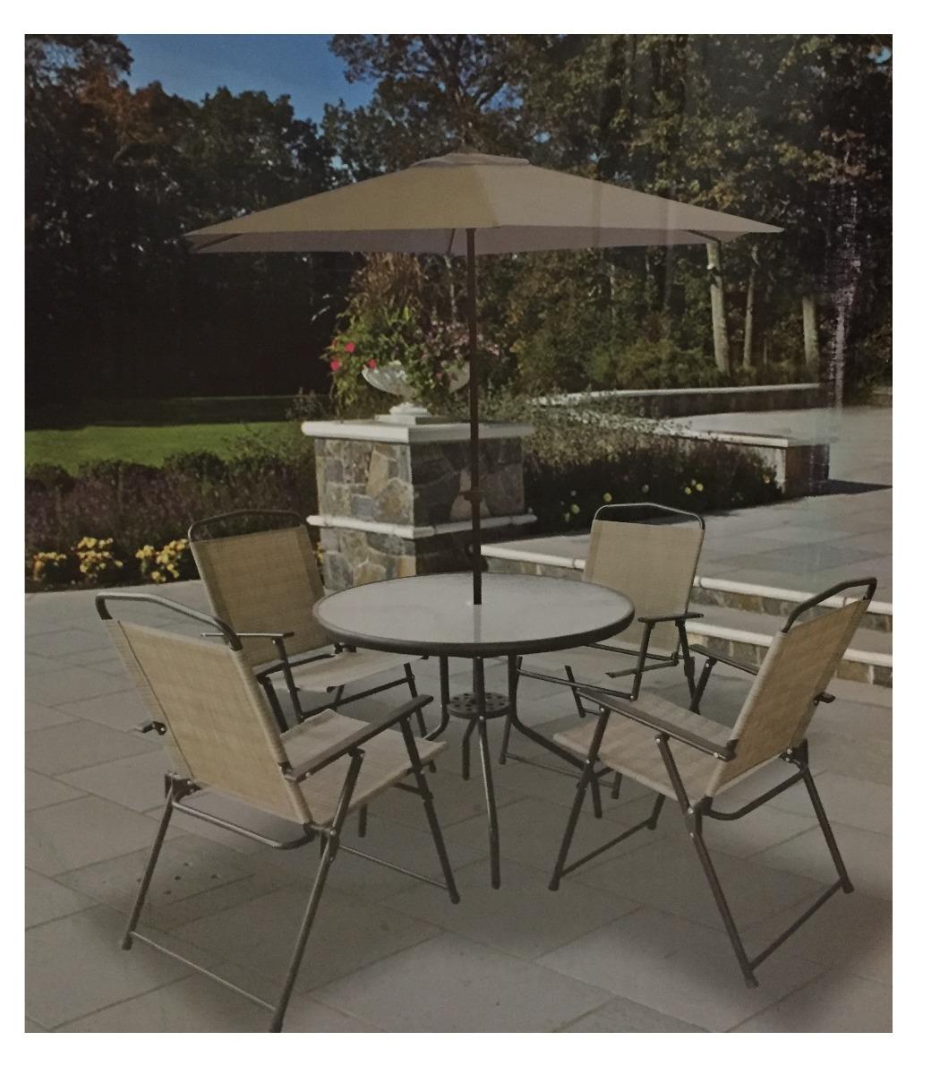 Comedor jardin terraza patio mesa 4 sillas y sombrilla for Sillas para terraza y jardin