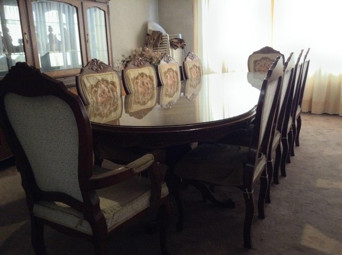 Comedor luis xv 10 sillas marqueter a cristal biselado for Comedor 10 sillas