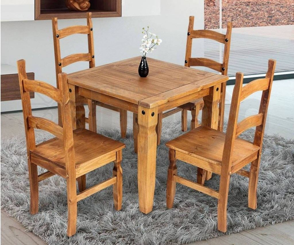 Comedor madera maciza linea mexicana 4 sillas for Sillas salon madera