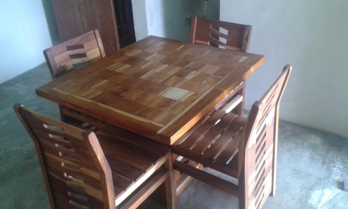 Mesa moderna para comedor de 4 sillas en madera teca bs for Mesa comedor madera