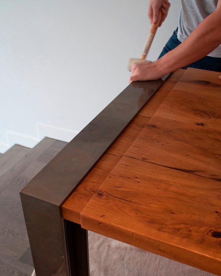 mesa comedor ultra madera hierro diseo industrial