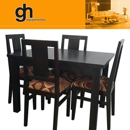 comedor, mesa 1.10 x 80 con 4 sillas listrado y tapizado gh