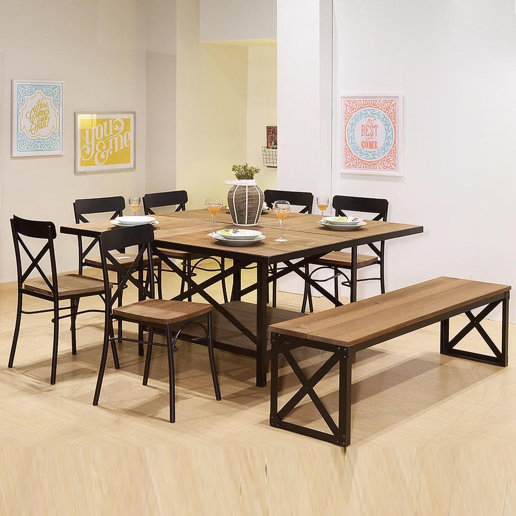 Comedor mesa con 6 sillas y 1 banca de madera con metal 23 en mercado libre - Comedor con banca ...