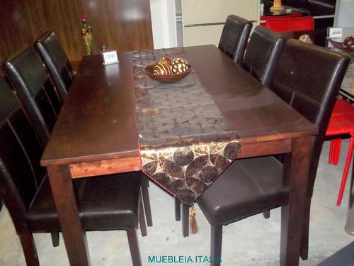 comedor mesa 6 sillas tapizadas en ecocuero chocolate living