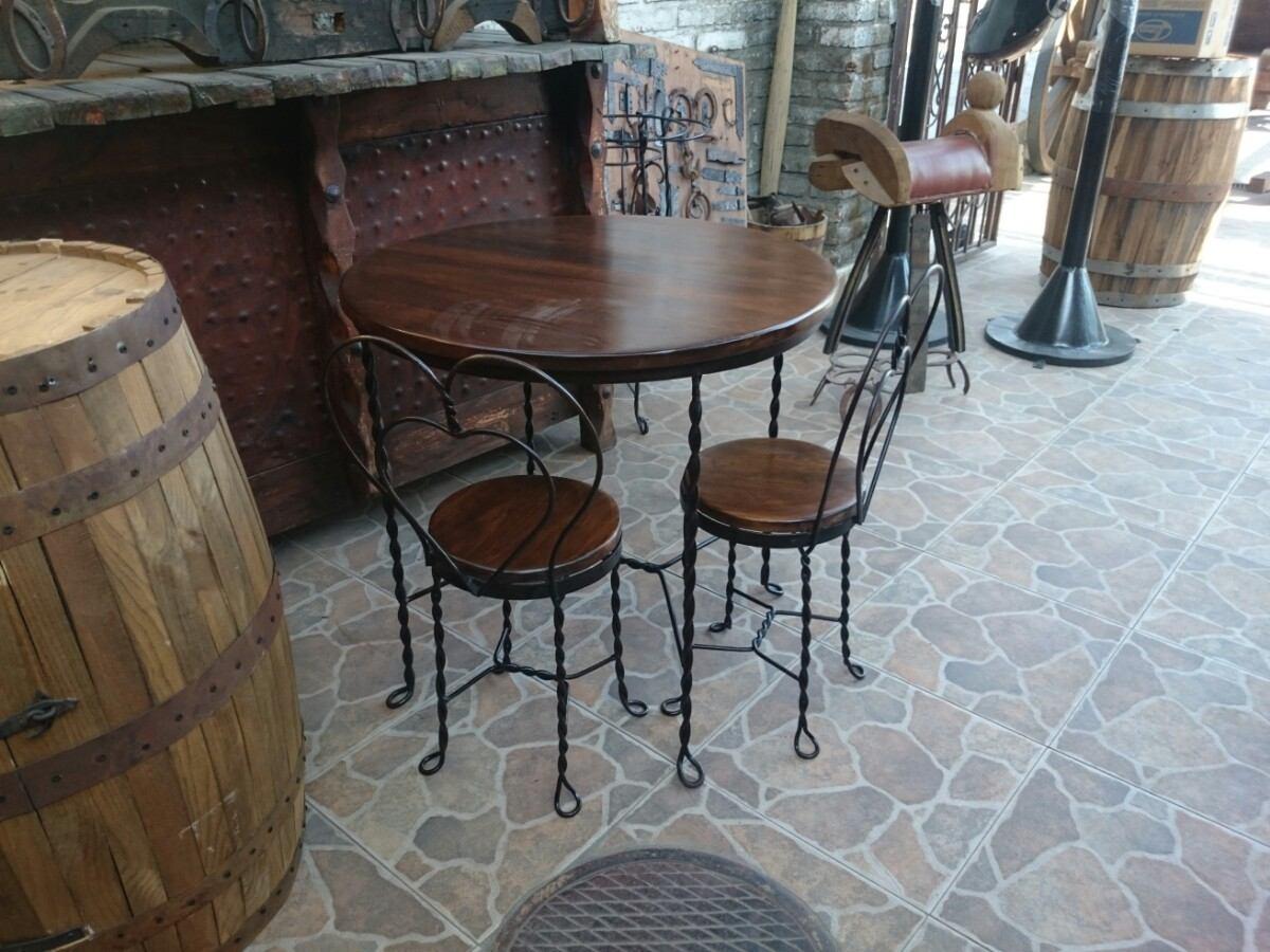 Comedor mesa de forja estilo antigua cantina 4 sillas - Sillas de forja para comedor ...