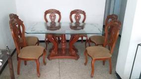 Comedor Mesa De Vidrio Base De Madera 6 Puesto 80 Cm De Alta
