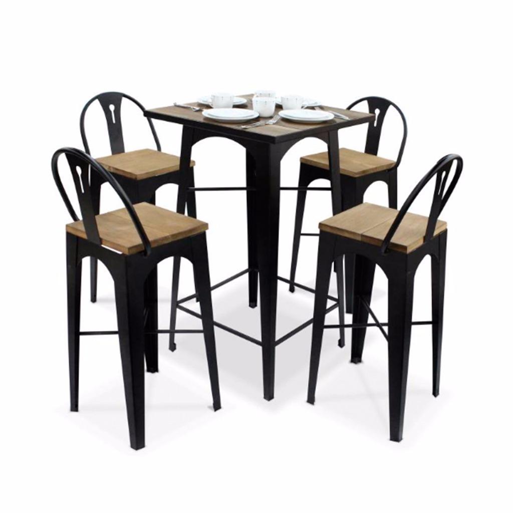 Comedor mesa periquera y 4 bancos en madera con metal for Mesa comedor madera y metal