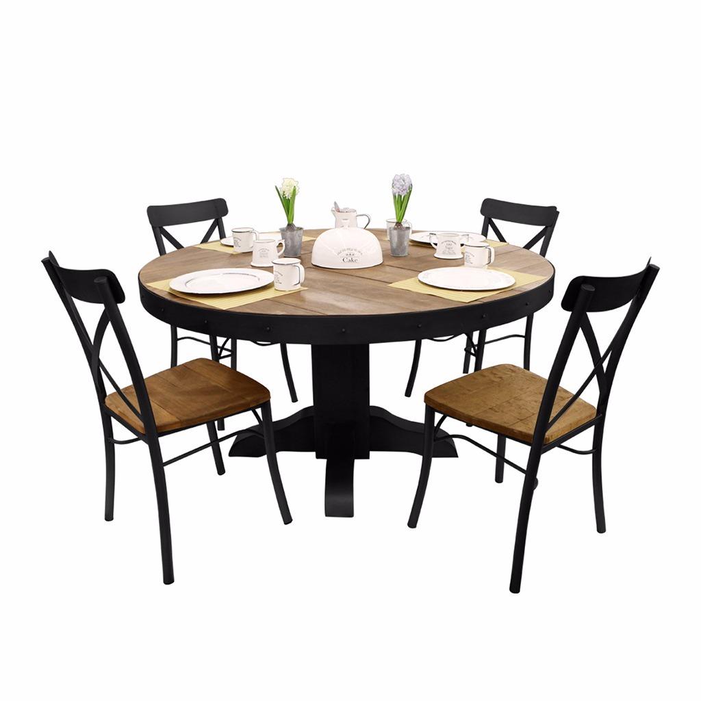 Comedor mesa redonda y 4 sillas de madera con metal negro for Comedor 4 sillas madera