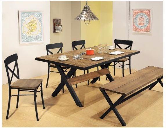 Comedor mesa x con 4 sillas y banca en madera y metal for Mesa comedor madera y metal