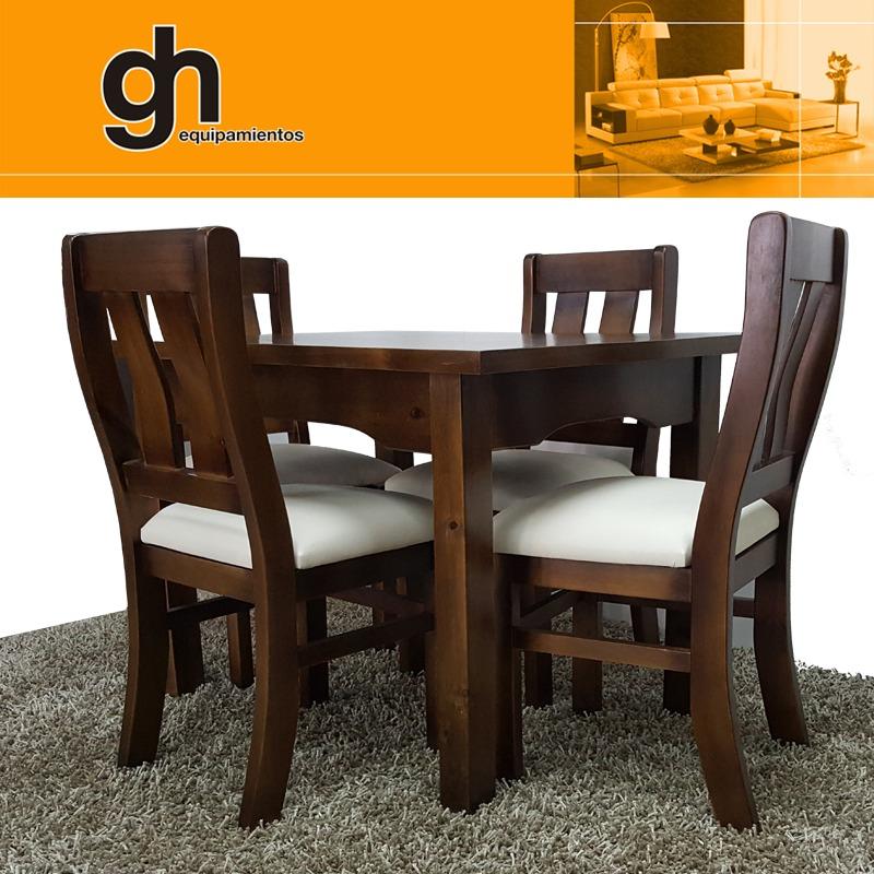 Comedor mesa y 4 sillas lustrado y tapizado color a gusto for Tipos de sillas para comedor