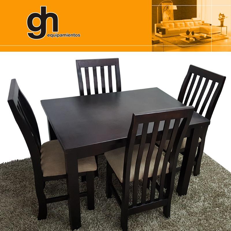 Comedor mesa y 4 sillas lustrado y tapizado color a gusto for Comedor tapizado moderno