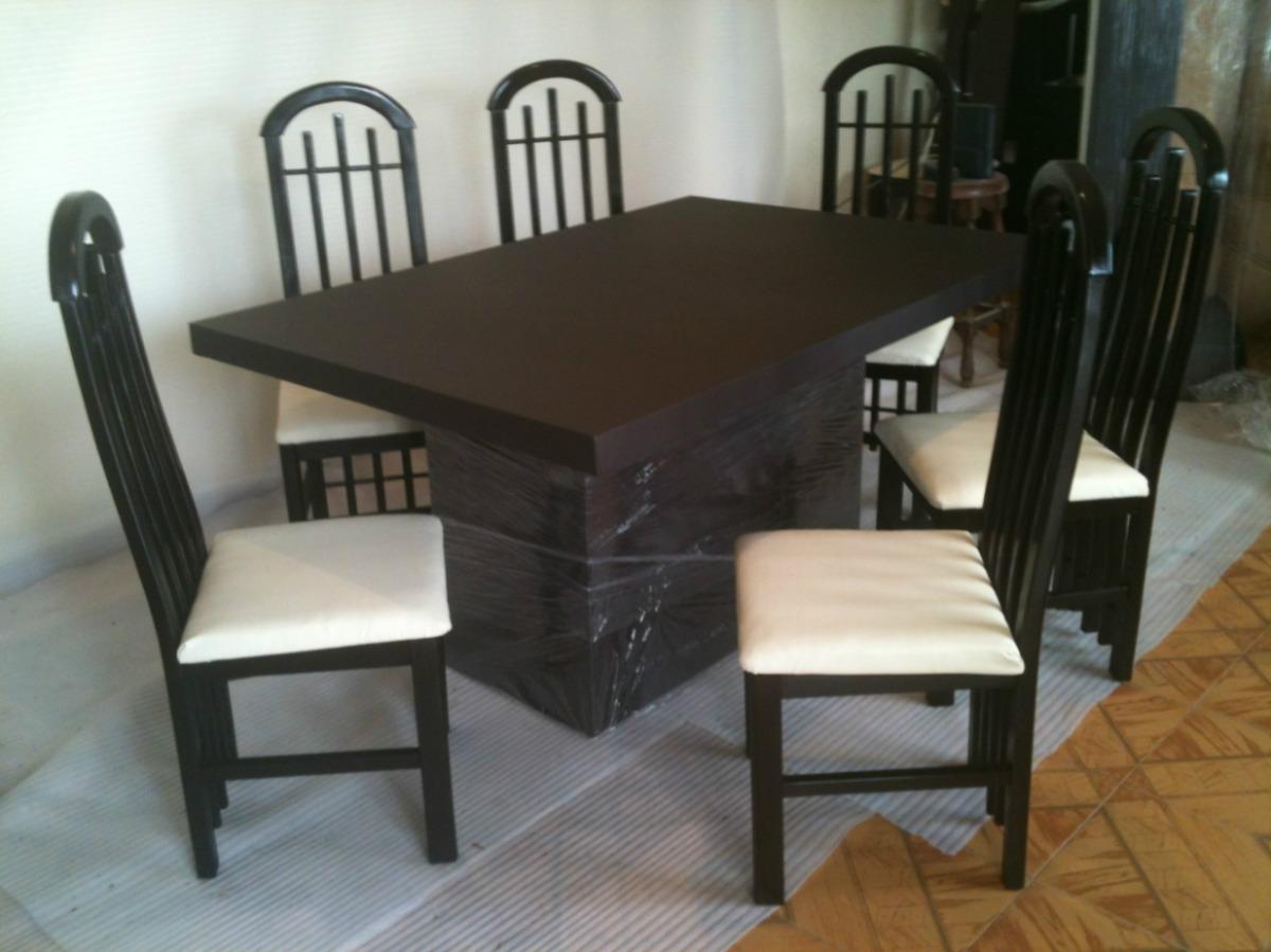 Comedor minimalista 6 sillas forrado en tacto piel o tela for Sillas de comedor de piel
