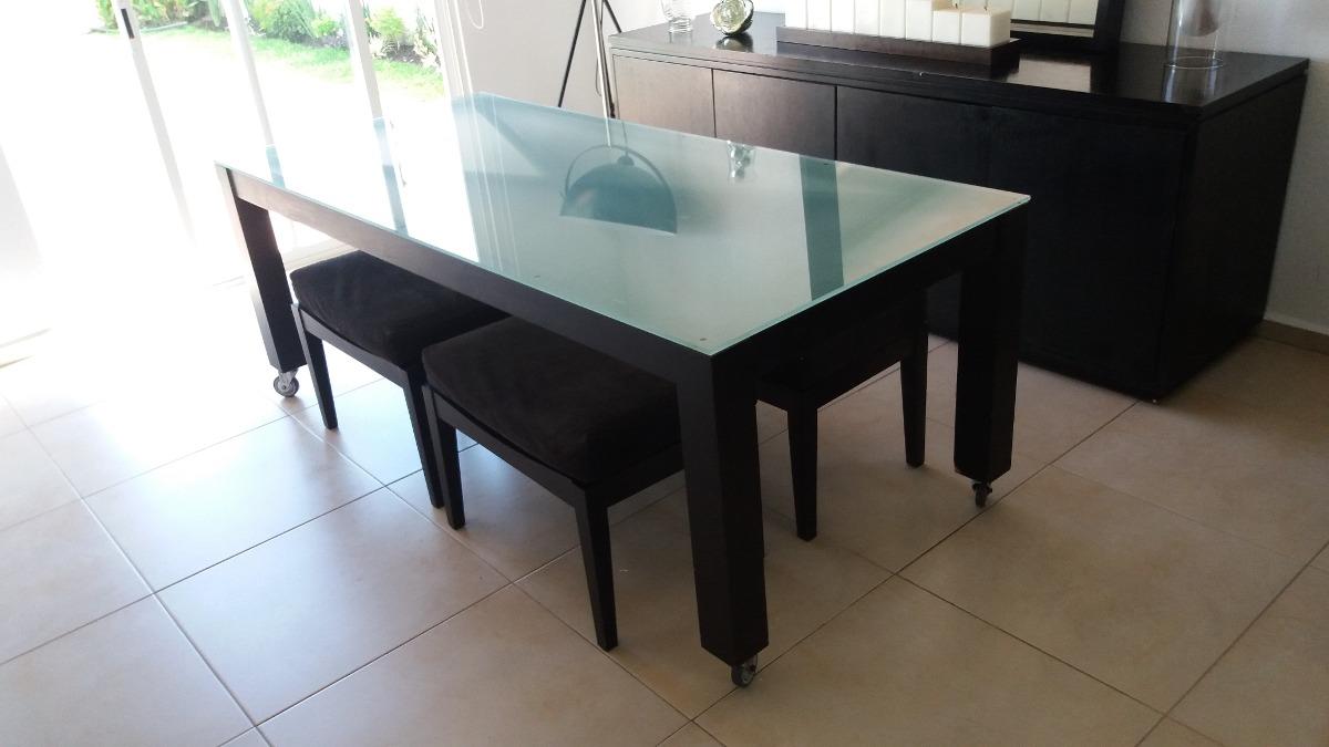 Comedor moda in casa cristal templado mesa 4 bancos negro for Mesa cristal 4 personas