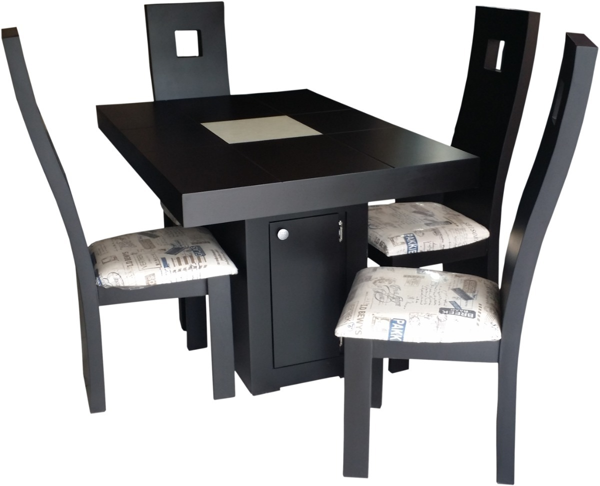 Comedor moderno chocolate 4 sillas peque o economic for Modelos de comedores 2016