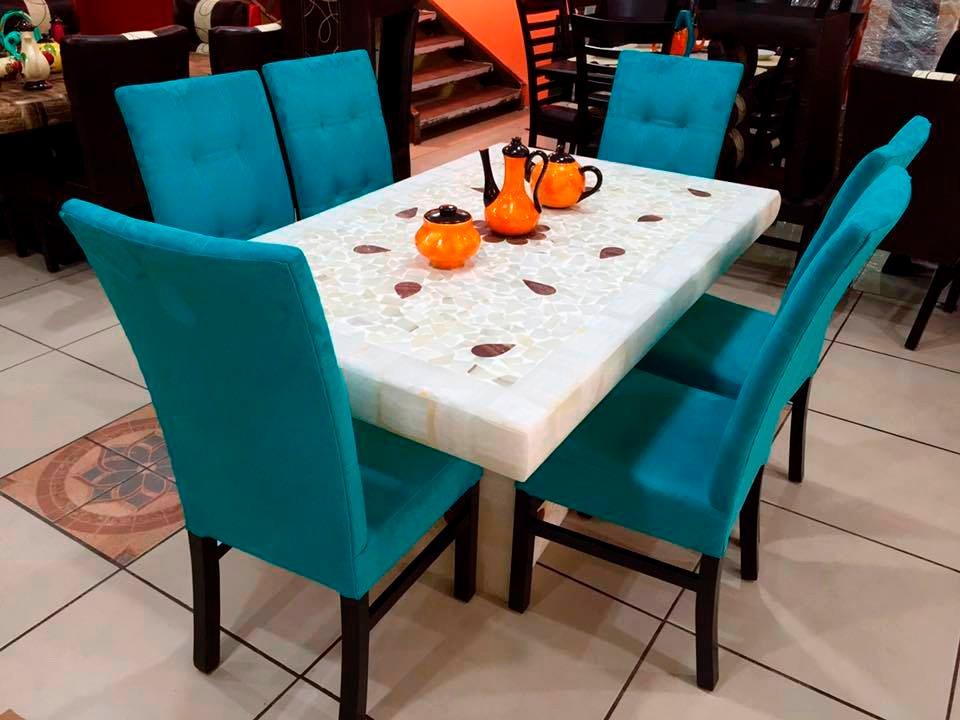 Comedor moderno de 6 sillas base y cubierta piedra onix Fabrica de bases para mesas