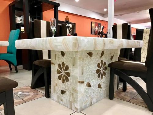 comedor moderno de 6 sillas base y cubierta piedra onix mesa