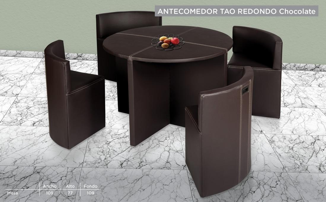 Comedor moderno redondo tapizado chocolate 3 en for Comedor redondo de madera 4 sillas