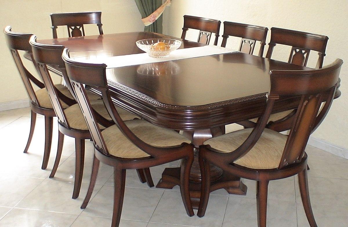 Comedor 8 puestos clasico madera comino y bife mueble for Comedor 4 puestos madera