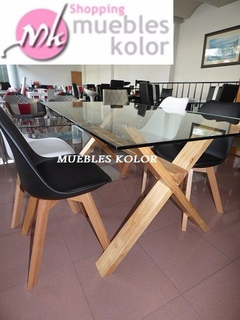 Mesa Comedor Vidrio Madera Cruzada 1,60x0,90 Muebles Kolor