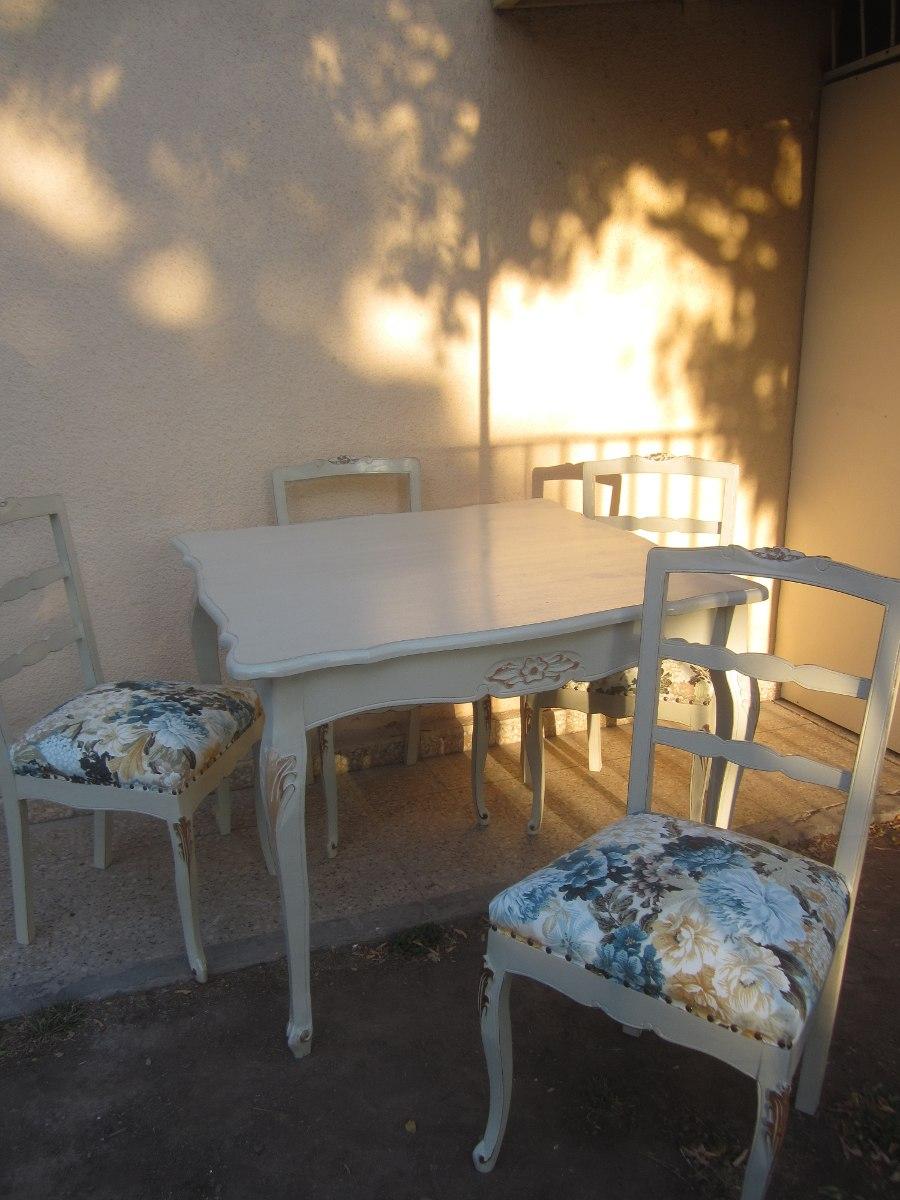 Comedor Normando Provenzal Vintage Mesa 100x100 Con 4 Sillas ...