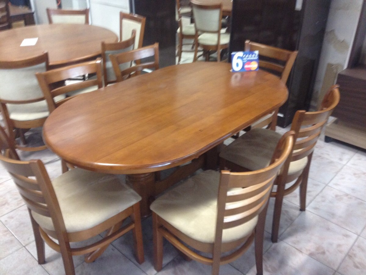 Comedor ovalado 6 sillas nuevo en mercado for Precios de comedores en vidrio