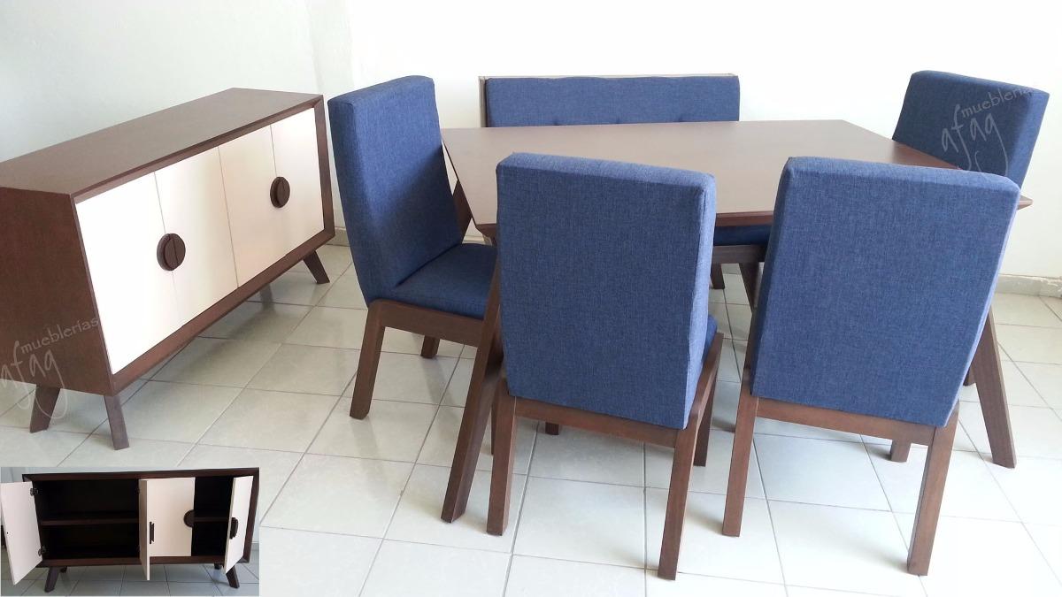 Comedor p6 mesa 4 sillas 1 banca lino azul rey ndigo for Comedores en oferta en monterrey