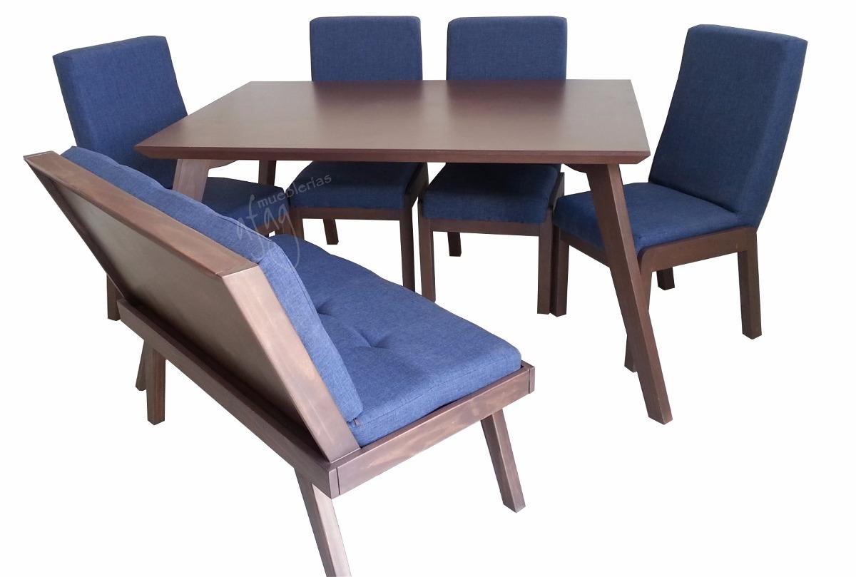 Comedor p6 mesa 4 sillas 1 banca lino azul rey ndigo for Comedor con banca