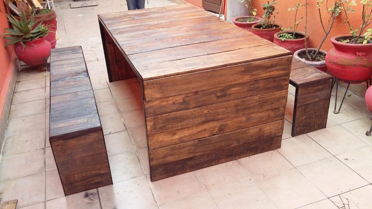 Comedor palet vintage madera maciza pino pallets tarima for Bar de madera de pino