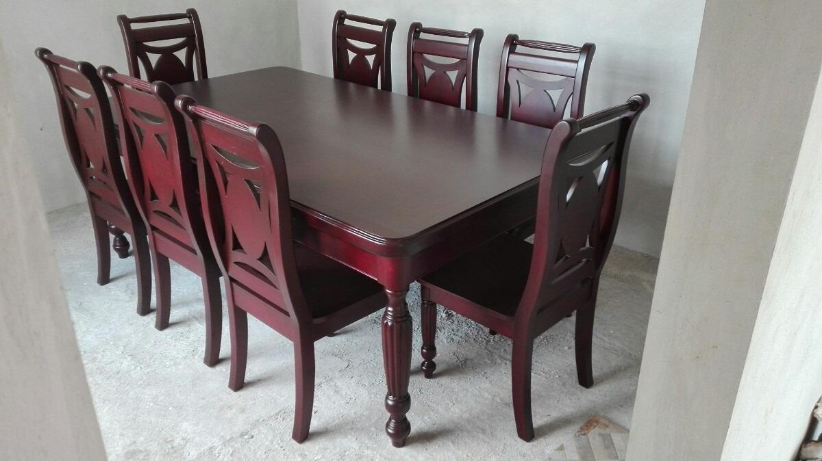 Comedor para 8 sillas en madera de cedro 30 en for Sillas cromadas para comedor