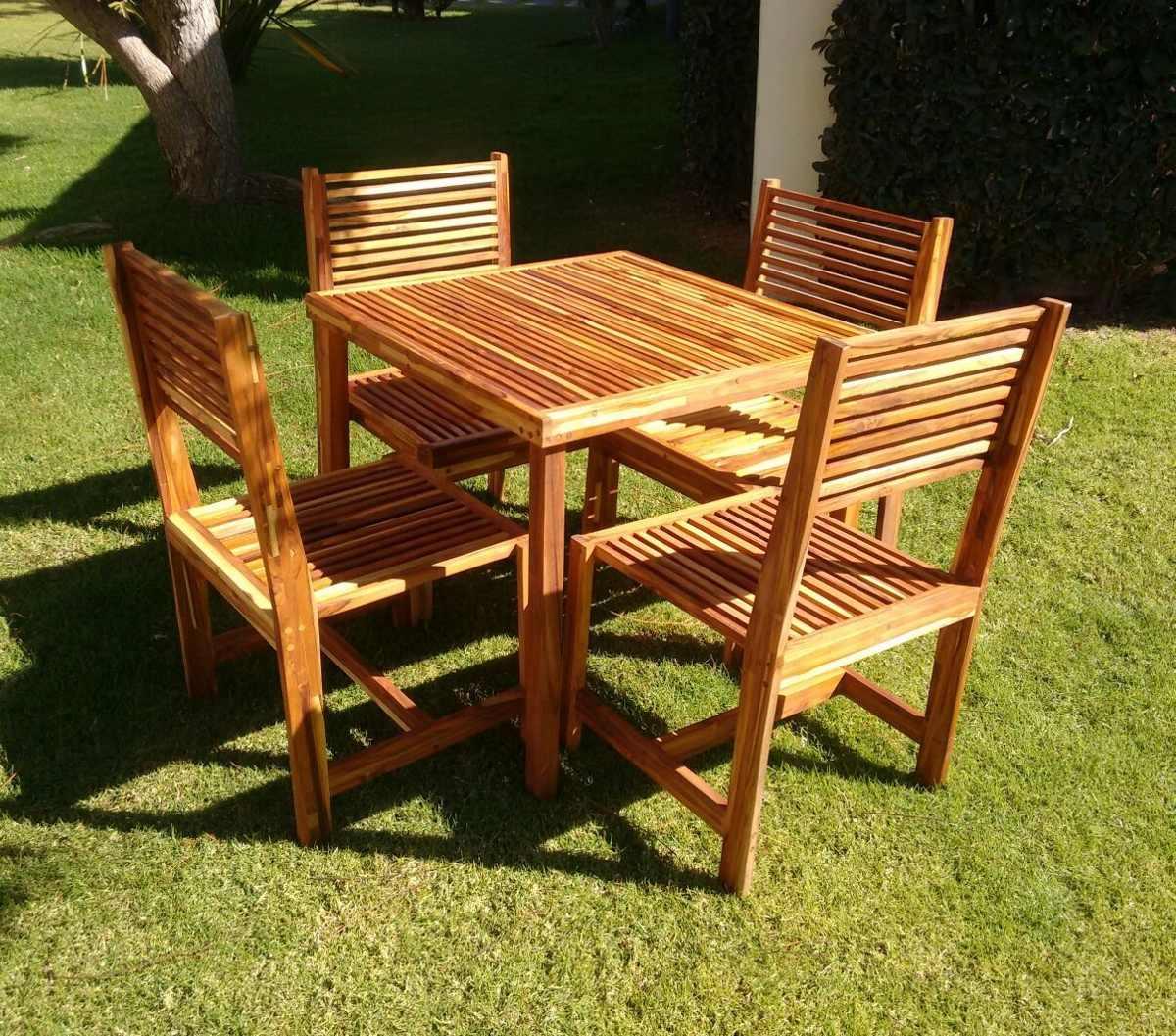 Comedor para jardin para 4 personas en madera de teca for Comedor para jardin