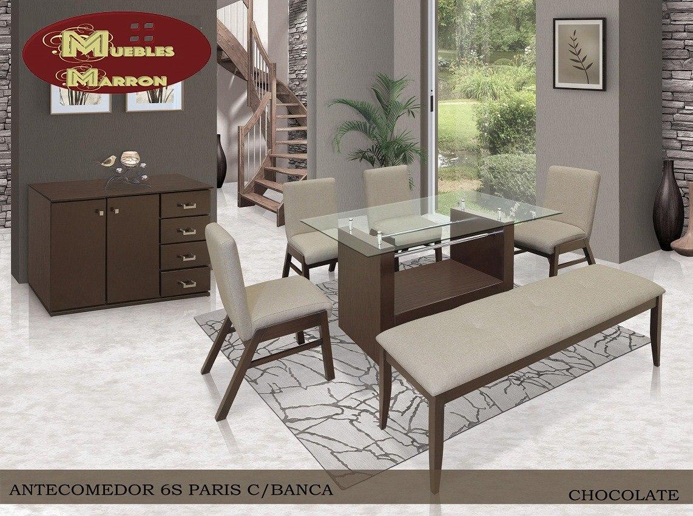 Comedor paris para 6 personas con banca nuevo muebles marr n 14 en mercado libre - Bancas de madera para comedor ...