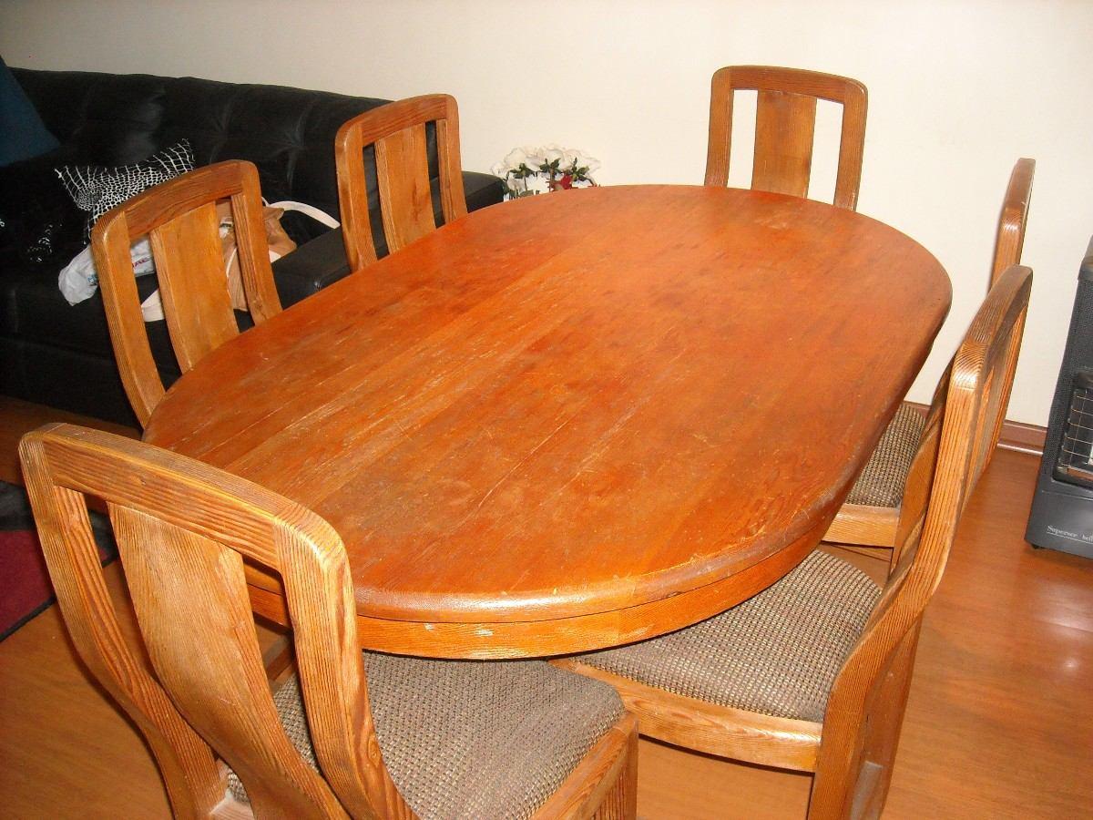 Comedor pino oregon americano mesa con pi a 6 sillas for Comedor 6 sillas usado