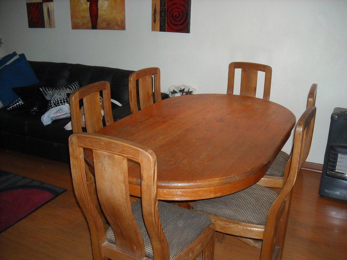 Comedor pino oregon americano mesa con pi a 6 sillas for Comedor americano